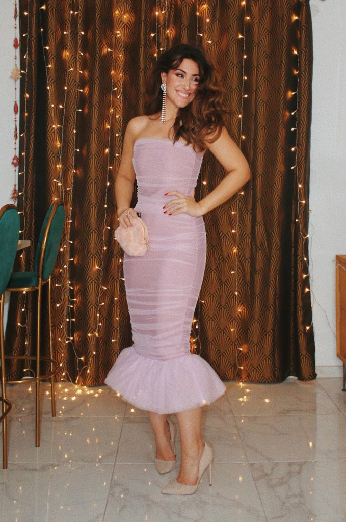 LILAC TULLE BANDAGE FISHTAIL DRESS