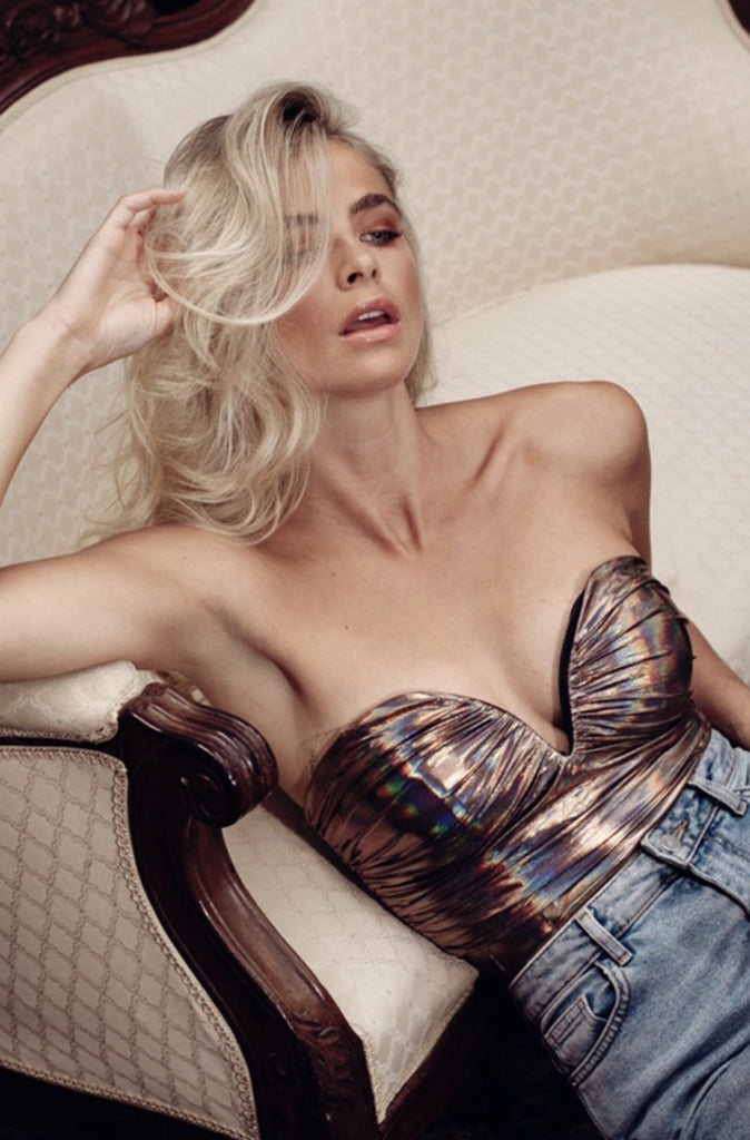 ROSE GOLD HOLOGRAPHIC RUCHED BODYSUIT