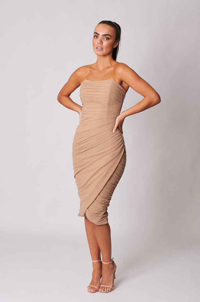 BEIGE GLITTER MESH DRAPE WRAP MIDI DRESS