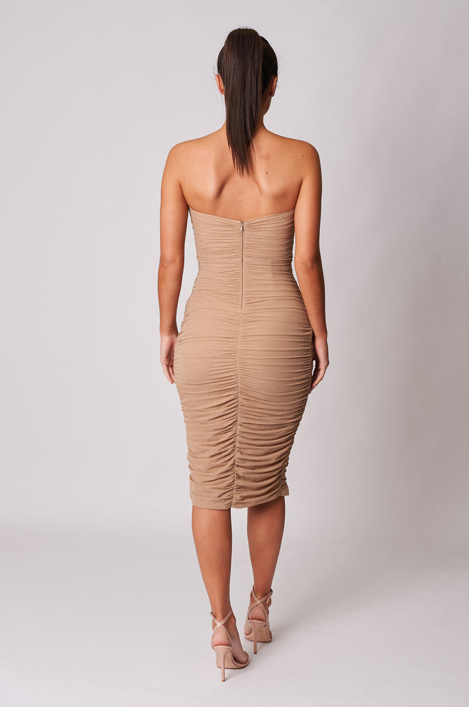BEIGE-GLITTER-MESH-DRAPE-WRAP-MIDI-DRESS