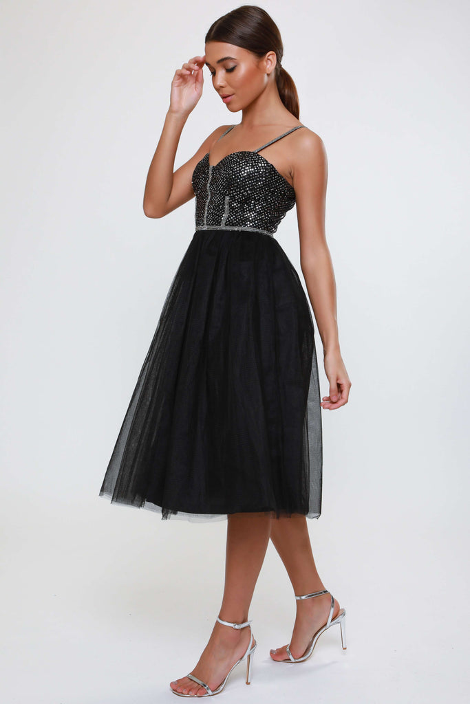 BLACK DIAMANTE STRAP SEQUIN DRESS