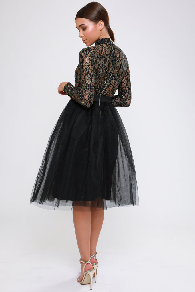 BLACK METALLIC TUTU DRESS