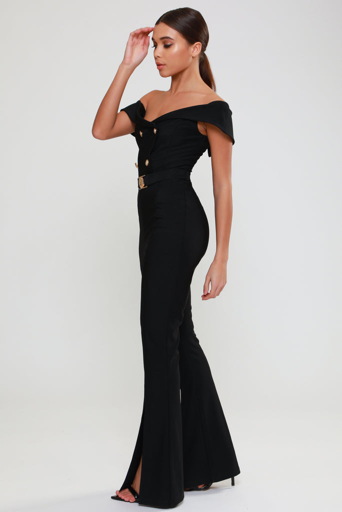 BLACK-BARDOT-FLARED-LEG-MILITARY-JUMPSUIT