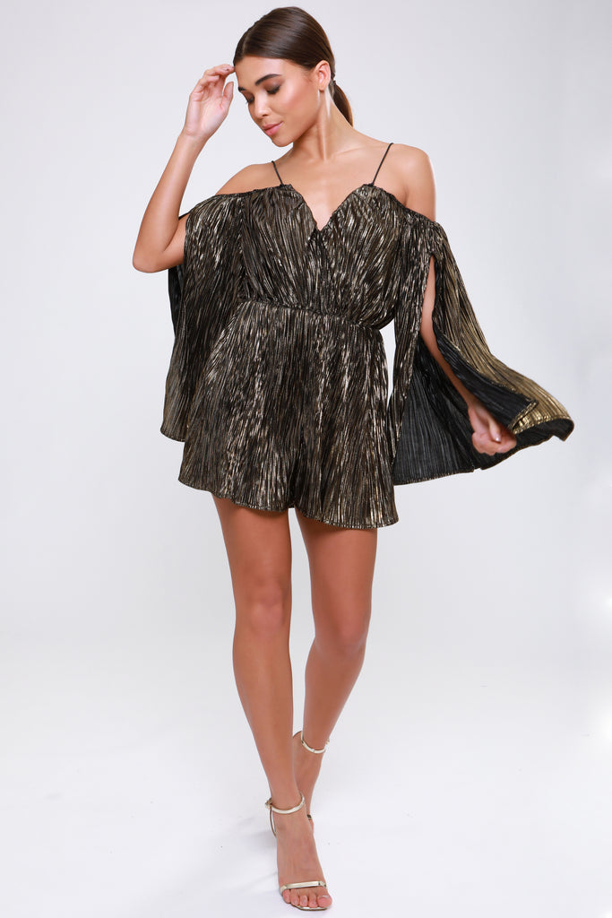 BRONZE METALLIC SPLIT SLEEVE PLISSE PLAYSUIT