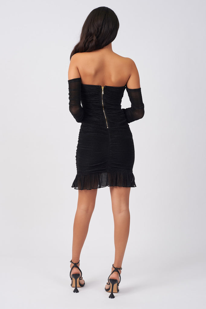 HYN004-BLACK-METALLIC-BANDAGE-PLISSE-OVERLAY-MINI-DRESS