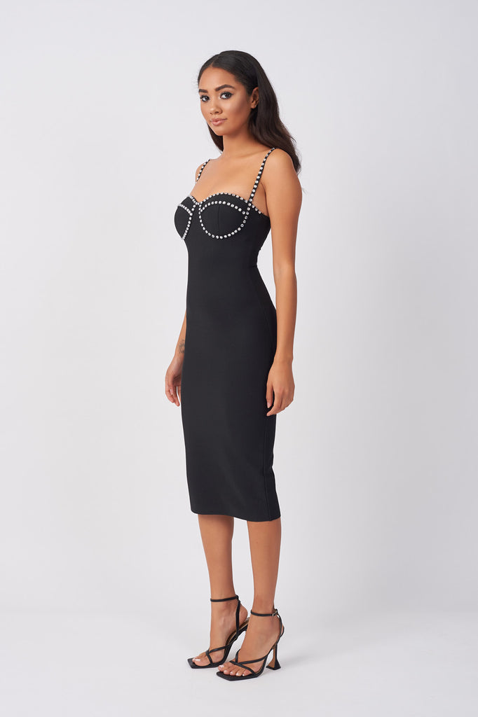 HYN010-BANDAGE-DIAMANTE-TRIM-DRESS-BLACK
