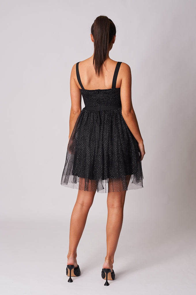 BLACK METALLIC SPOT TULLE SKATER DRESS