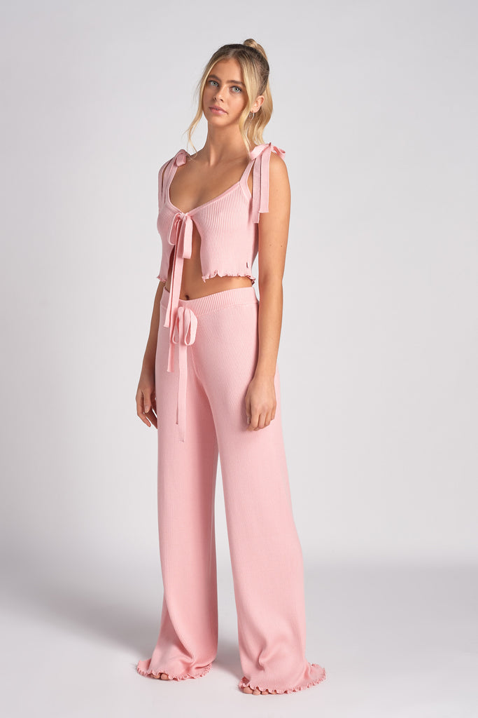 PINK LETTUCE EDGE RIB KNIT TIE FRONT CAMI TOP