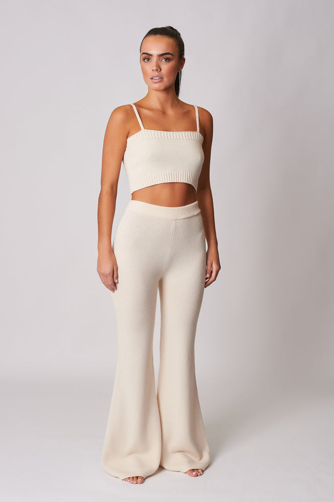 CREAM KNIT LOUNGE CROP TOP