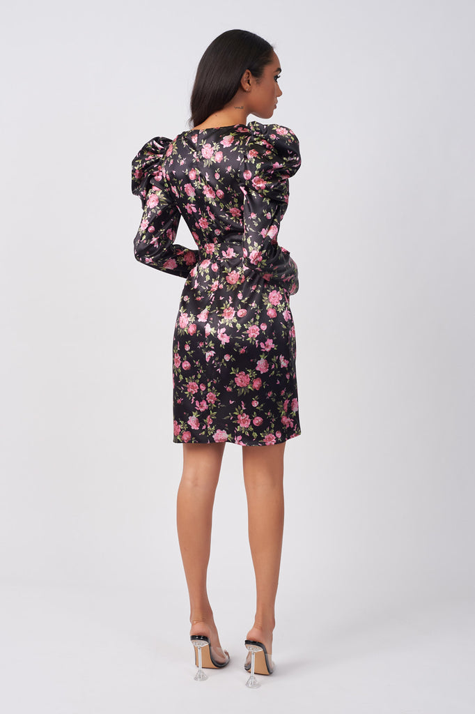 LIN322-BLACK-FLORAL-PRINT-SATIN-WRAP-MINI-DRESS