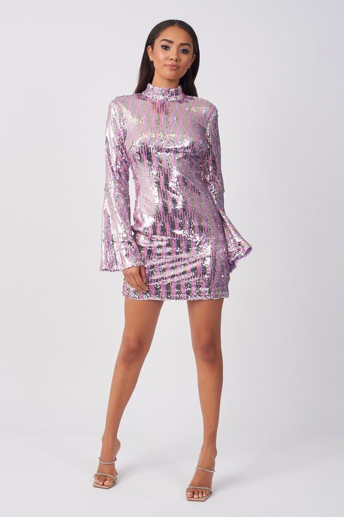LIN333-SEQUIN-OPEN-BACK-MINI-DRESS