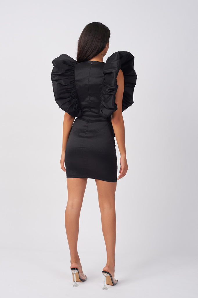 LIN345-BLACK-TAFFETA-FRILL-SLEEVE-DRESS