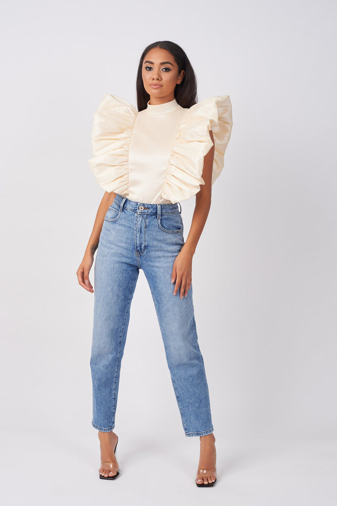 cream taffeta statement sleeve bodysuit