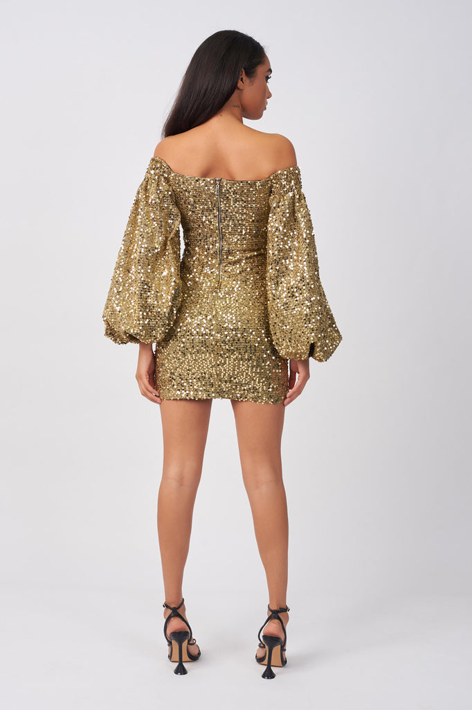 LIN360-GOLD-SEQUIN-LUREX-BLACK-STATEMENT-SLEEVE-MINI-DRESS