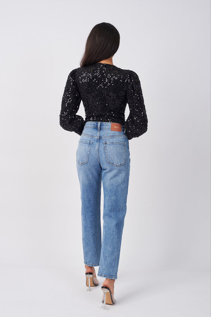 LIN361-BLACK-SEQUIN-LUREX-MUTTON-SLEEVE-BODYSUIT