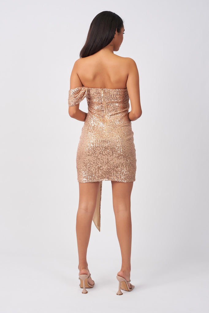 LIN388-GOLD-SEQUIN-DRAPE-MINI-DRESS