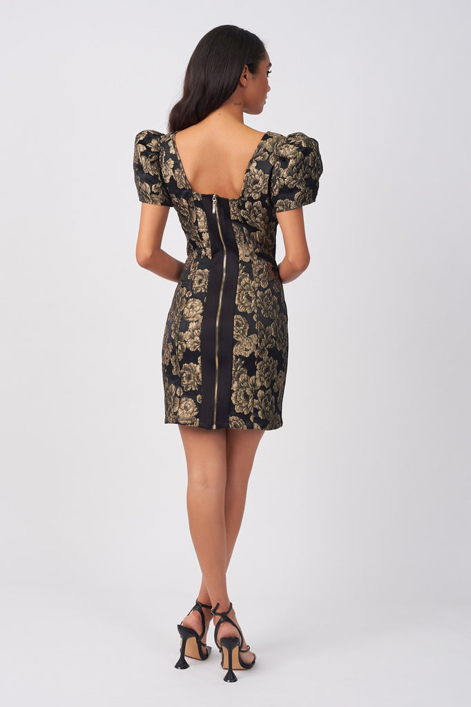 LYN01-BLACK-AND-GOLD-BROCADE-PUFFBALL-SLEEVE-DRESS