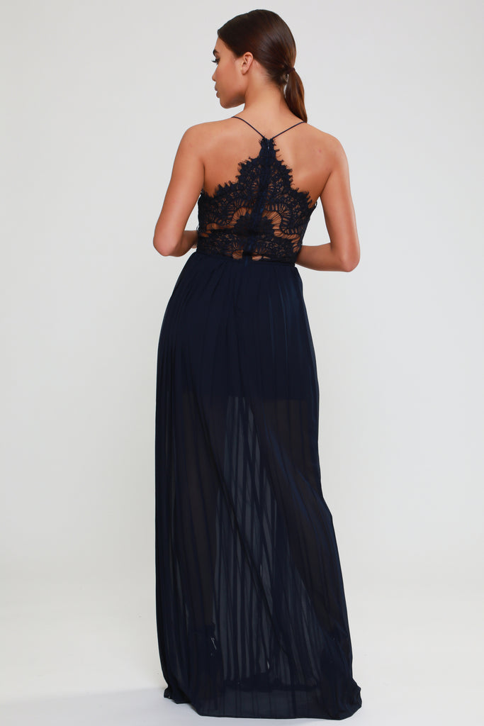 NAVY EYELASH LACE MAXI DRESS