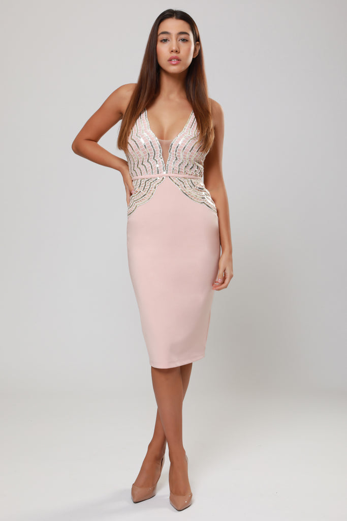 NUDE PLUNGE SEQUIN MIDI DRESS