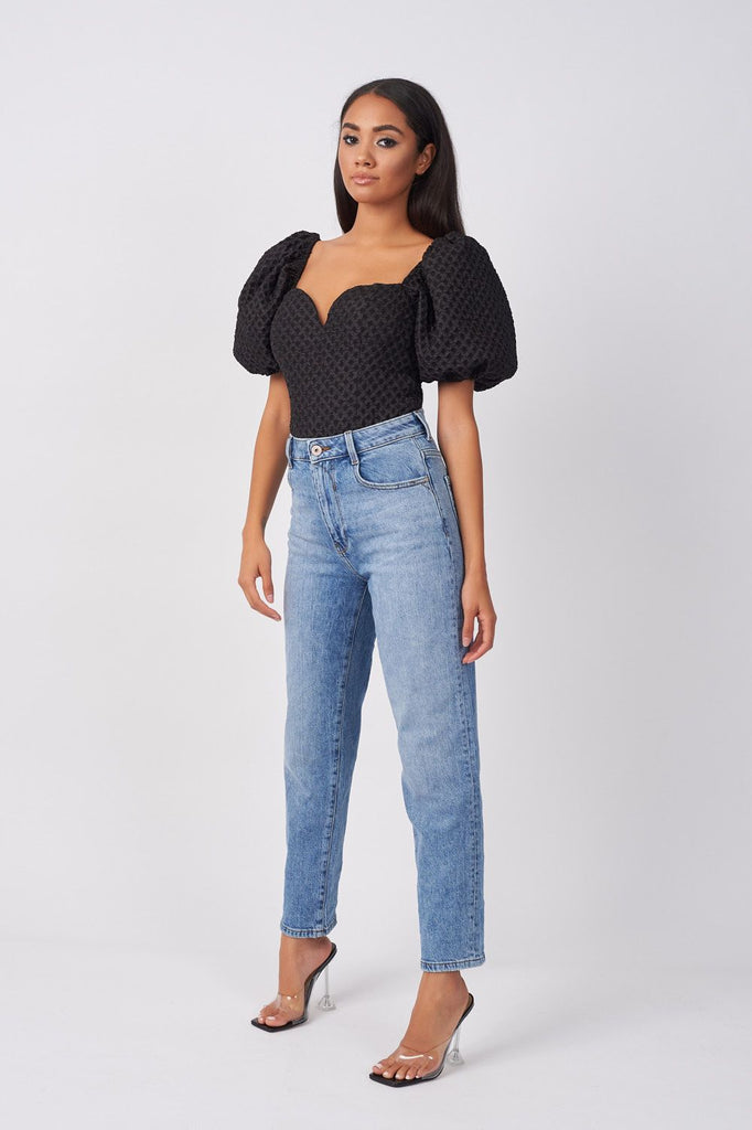 BLACK TEXTURED PUFF SLEEVE BODYSUIT