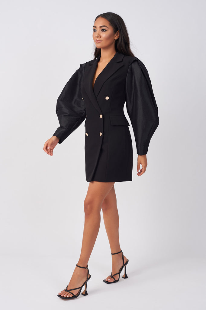 PRN02-TAFFETA-STATEMENT-SLEEVE-BLAZER-DRESS-BLACK