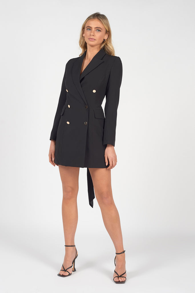 BLACK LACE UP DOUBLE BREASTED BLAZER DRESS
