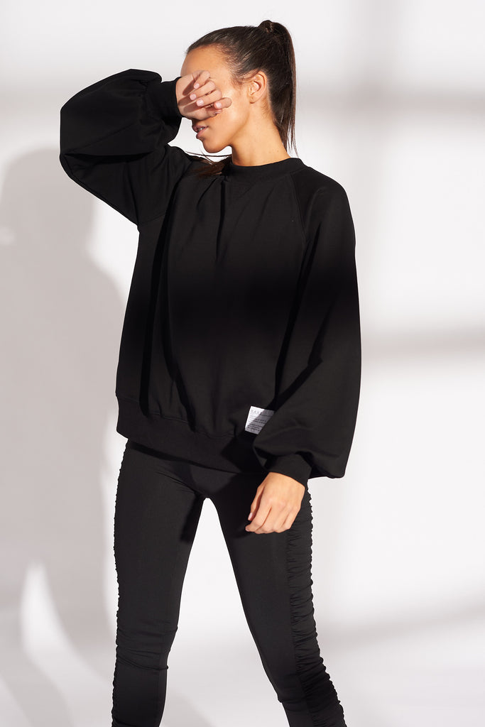 BLACK WRAP BACK LOGO SWEAT TOP