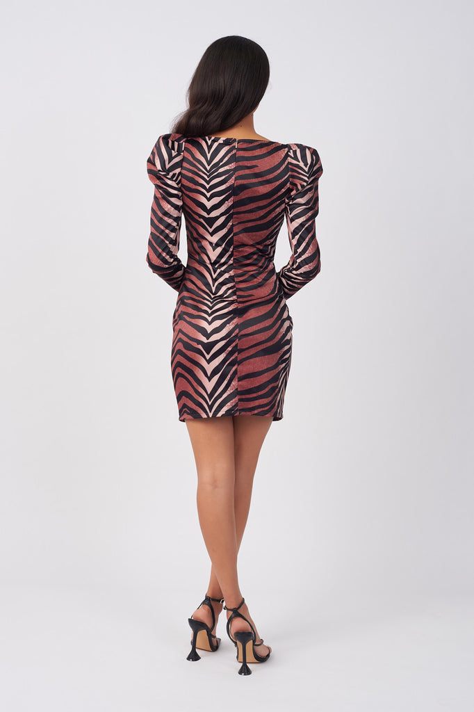 SDN012-TIGER-PRINT-STATEMENT-SLEEVE-BODYCON-DRESS