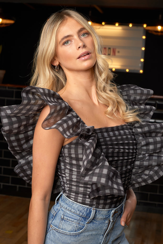 BLACK GINGHAM TULLE STATEMENT BODYSUIT