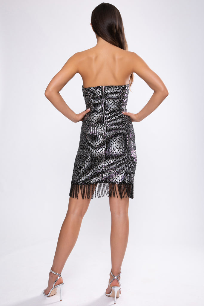 SILVER AND BLACK SEQUIN BANDEAU TIE FRONT DRESS