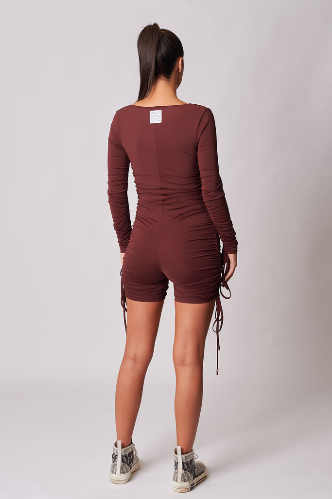 BURGUNDY DRAWSTRING RUCHED CYCLESUIT