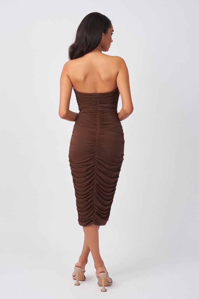 YUN226-BROWN-MESH-DRAPE-WRAP-MIDI-DRESS