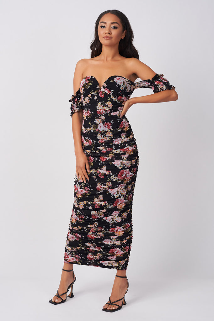 YUN229-BLACK-FLORAL-PRINT-RUCHED-MIDAXI-DRESS-BLACK