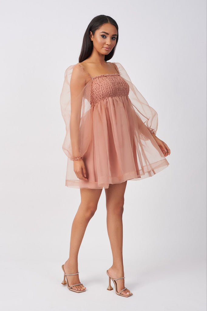 BLUSH BABYDOLL ORGANZA SHIRRING MINI DRESS