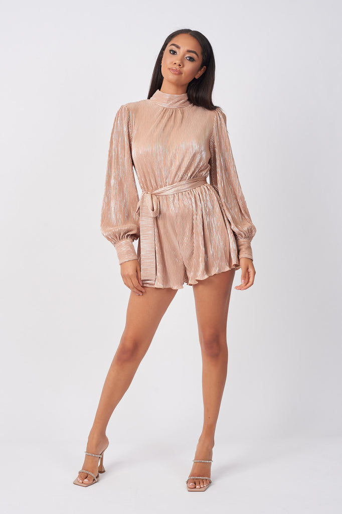 YUN241-ROSE-GOLD-METALLIC-PLISSE-PLAYSUIT