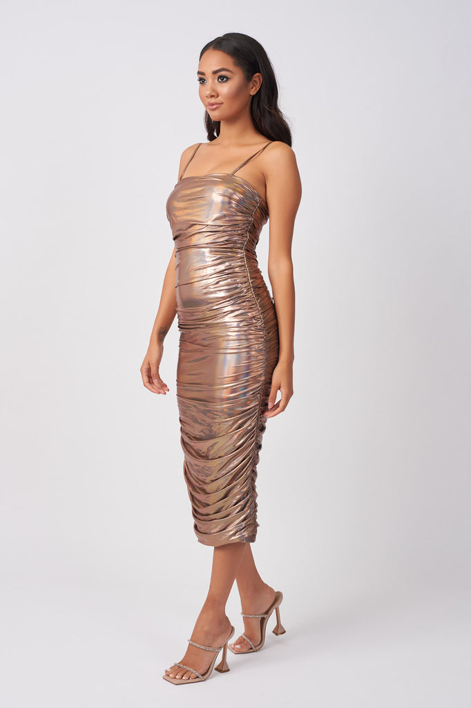 YUN263-ROSE-GOLD-HOLOGRAPHIC-RUCHED-MIDI-DRESS