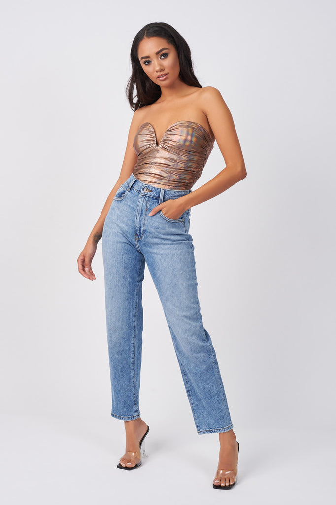 YUN264-ROSE-GOLD-HOLOGRAPHIC-RUCHED-BODYSUIT