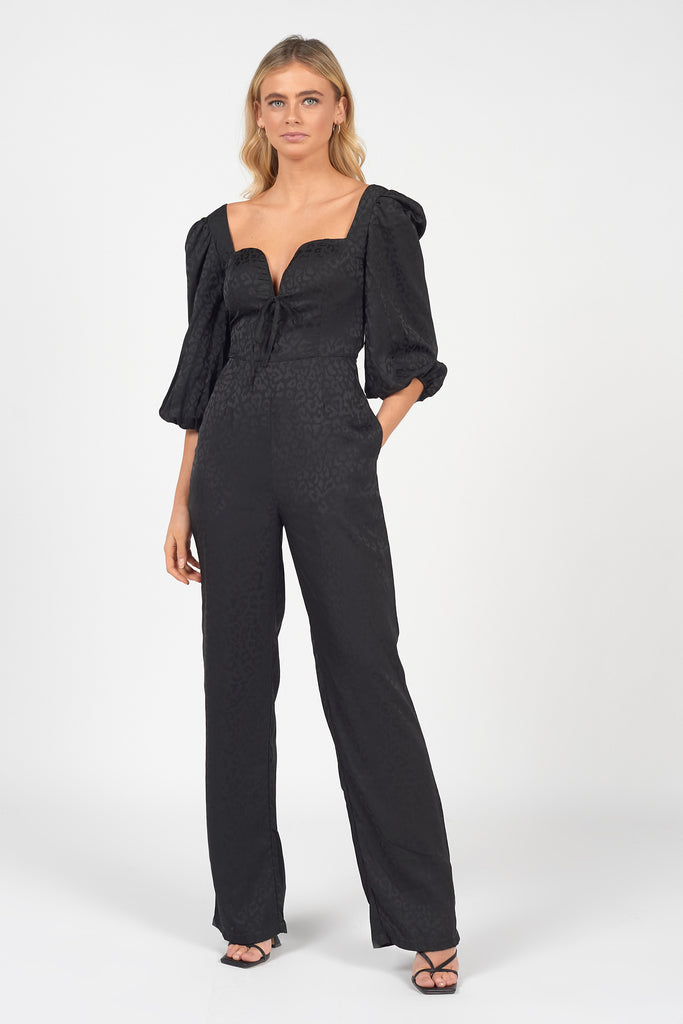 BLACK-ANIMAL-SATIN-JACQUARD-MILKMAID-JUMPSUIT
