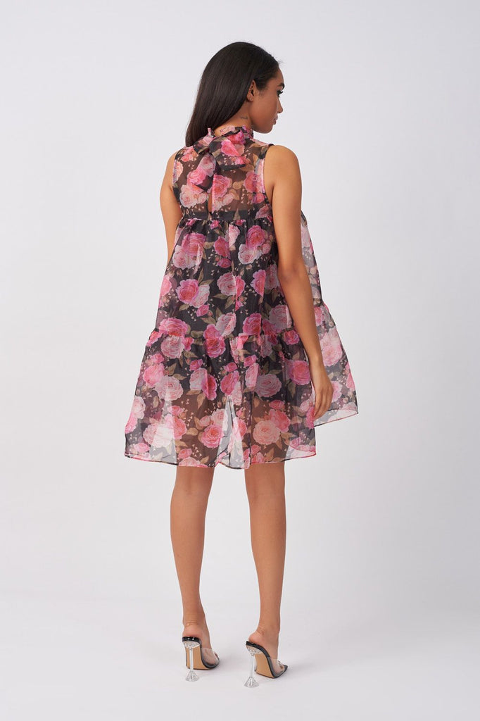 FLORAL ORGANZA TRAPEZE DRESS