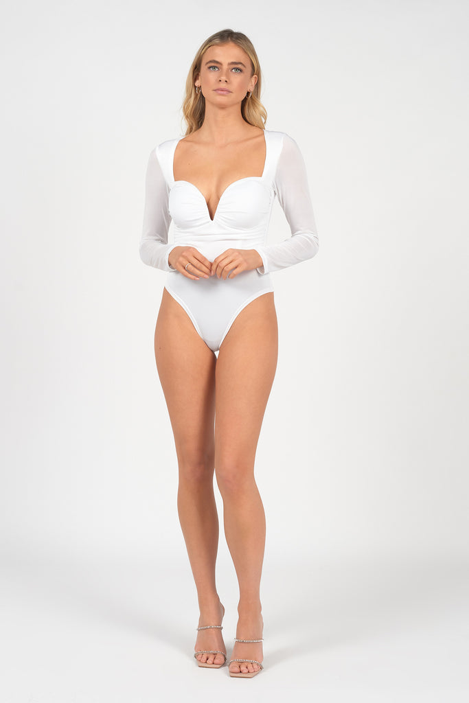 WHITE SWEETHEART RUCHED BODYSUIT