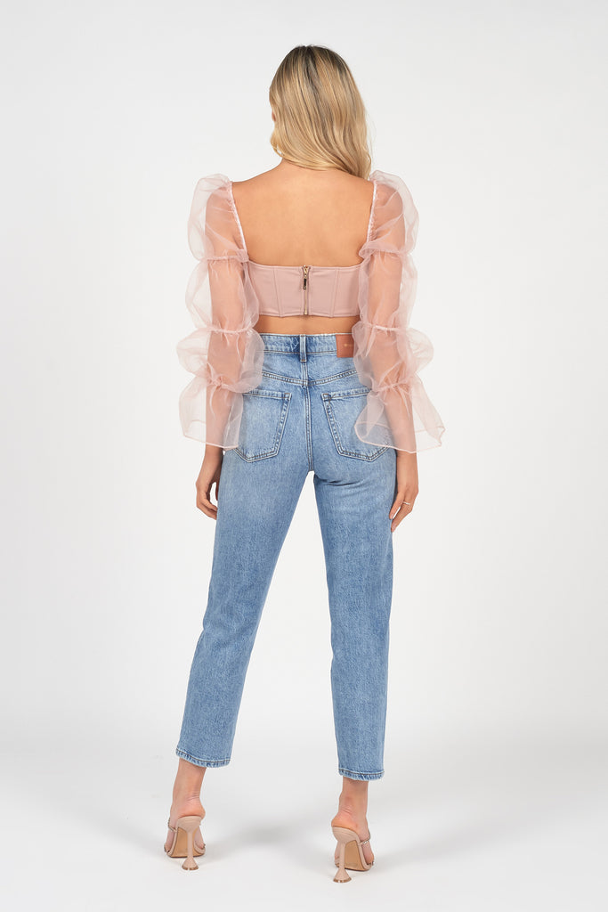 blush statement sleeve organza corset crop top