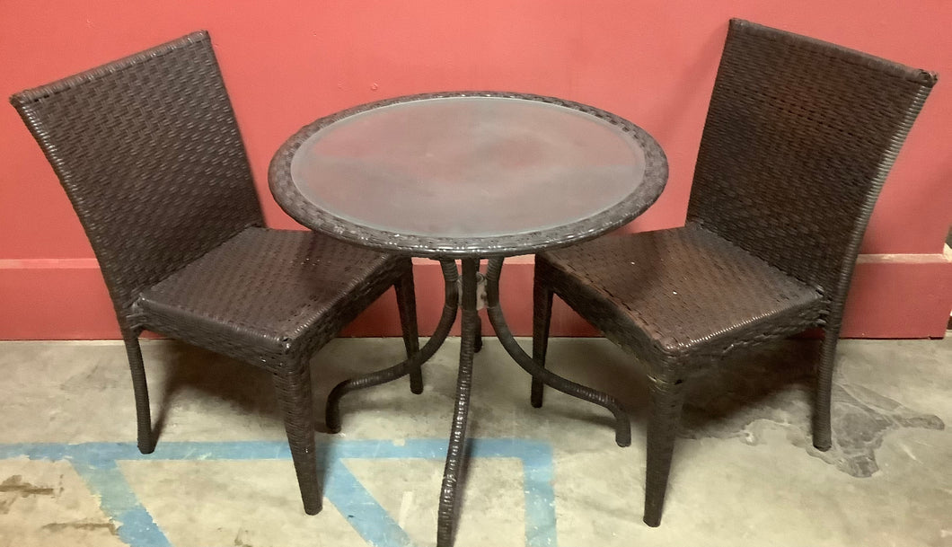Wicker Glass Top Lawn Table and 2 Chairs
