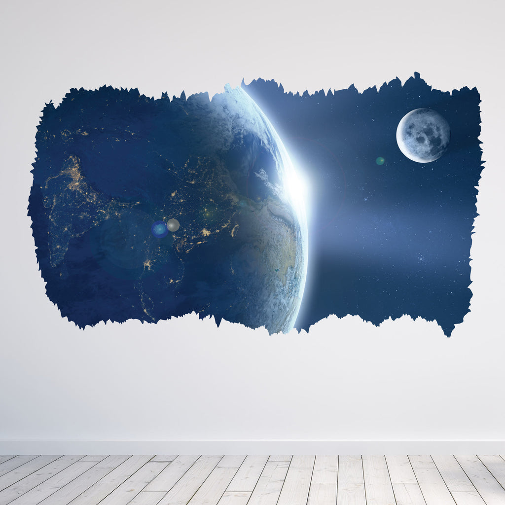 Moon orbiting Earth 3D Wall Sticker