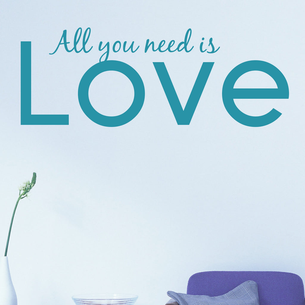 all you need is love wall sticker wallstickers co uk