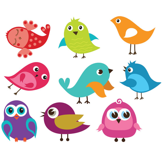 Set of 9 Cute Birds Wall Stickers