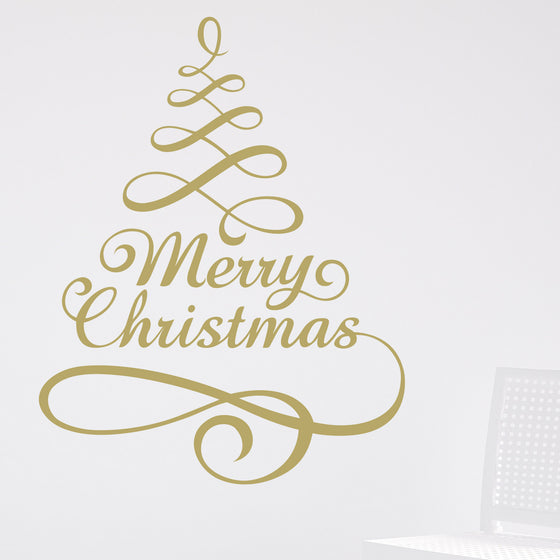 Merry Christmas Tree Wall Sticker