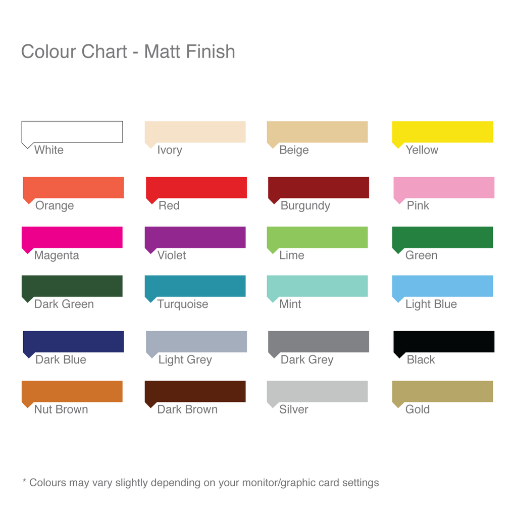 Wall Sticker Colour Chart