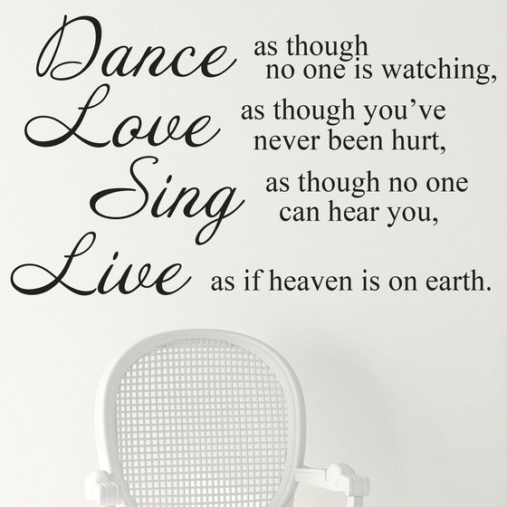 Dance Love Sing Live Quote Wall Sticker