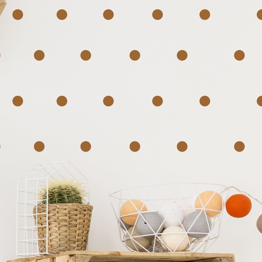 Copper Polka Dot Wall Stickers