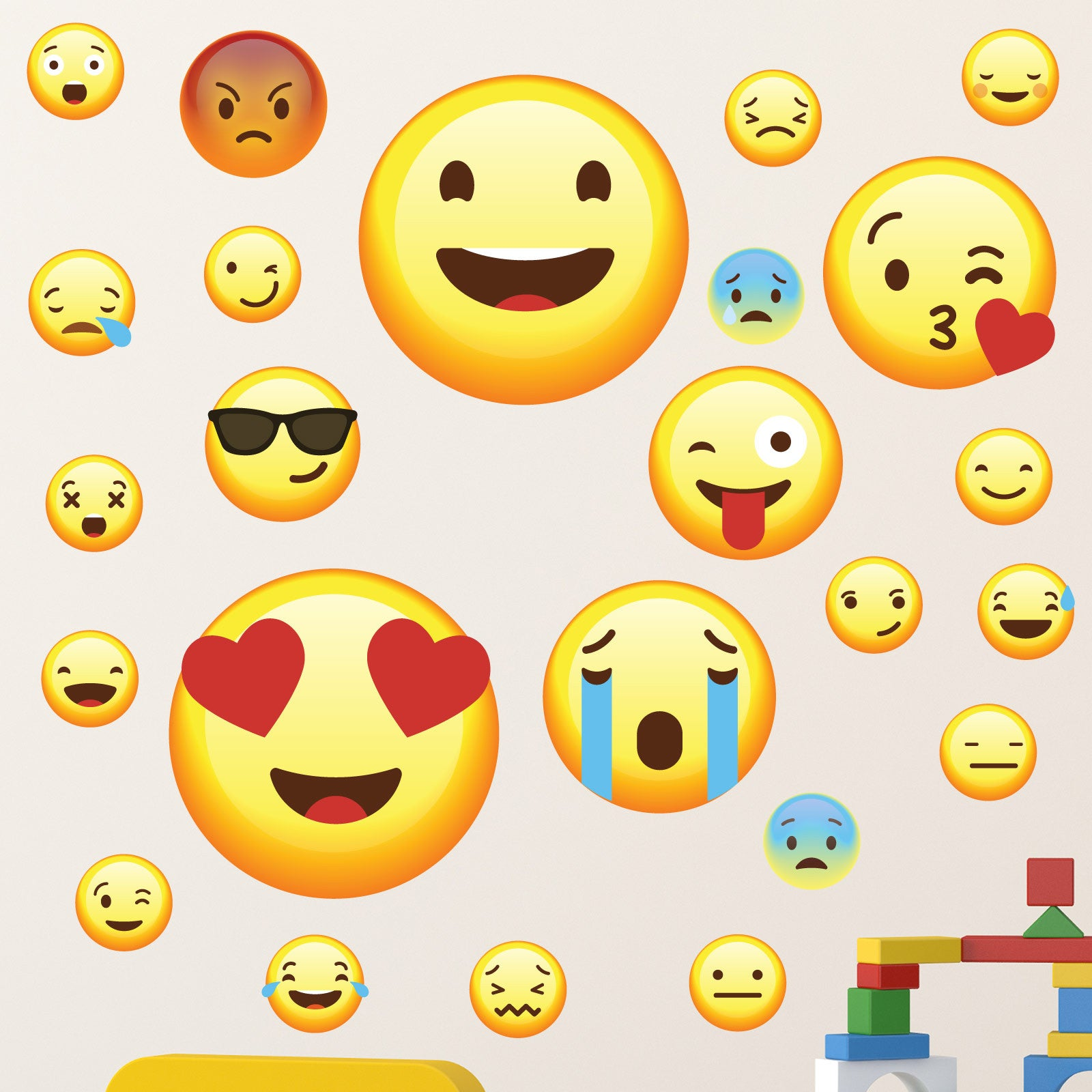 1637c155be Emoji Set of 25 Wall Stickers - wallstickers.co.uk